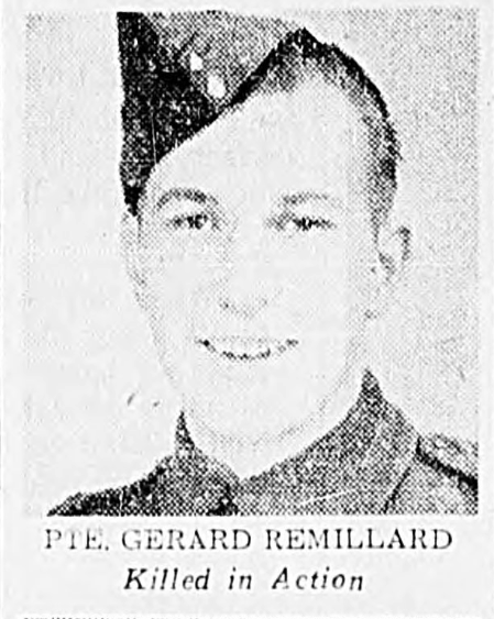 Canadian Fallen Soldier - Private GERARD REMILLARD